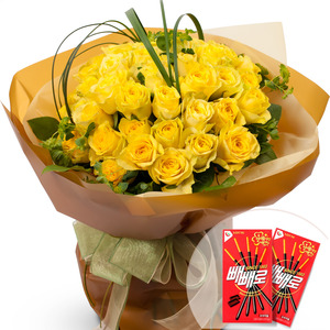 노랑장미꽃다발(빼빼로2개무료증정)